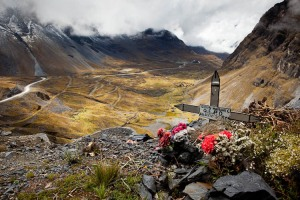 Crosses next to the road near the Cumbre pass near La Paz, Bolivia mark where people died when their vehicles went over the edge.