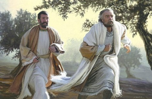Peter and John running to the tomb (painting by Dan Burr)